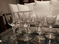 Set 4 Vintage Cut Crystal Water or Large Wine Glasses & 4 Small Wine Glasses
