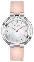 Bulova Women's Quartz Diamond Accent Pink Leather Strap 35mm Watch 96P197