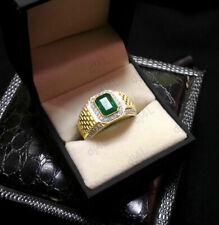 2.20 Ct Green Emerald & Diamond 14k Yellow Gold FN Men's Wedding Pinky Band Ring