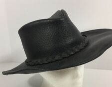 Minnetonka Buffalo Black Leather Western Cowboy Hat Outback Size Small Vintage