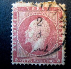 1856 Norway S# 5,  8 Skilling Dull Lake Stamp Used, f  imperfection(s)