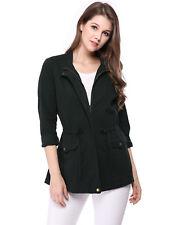 Parka Solid Pattern 100% Cotton Coats, Jackets & Vests for Women