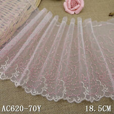 1 Yard Pink Crochet Lace Trim Embroidered Tulle For DIY Craft Wide 7 1/2""