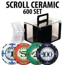 Scroll 10 gram Ceramic Poker Chip Set 600 Acrylic Carrier and Racks