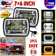 """2pc 7X6 5X7"""" HALO DRL SEALED BEAM LED HEADLIGHTS H4 BULB FOR PICKUP TRUCK"""