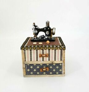 HAND CRAFTED WOODEN JEWELLERY KEEPSAKES TRINKET BOX _SEWING MACHINE