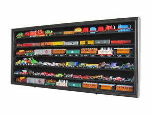 HO / RR Scale Model Train Hot wheels Display Case Cabinet Shadow Box-Black
