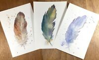 THREE FEATHERS - SET OF 3 ORIGINAL WATERCOLOURS SIZE A5 (5x8ins) by Diane Antone