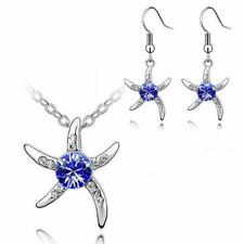 Women's Silver Starfish Necklace & Earrings Set Dark Blue Crystal Stone Gift UK