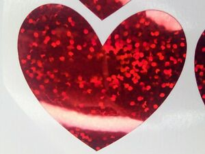 6 Red Sparkle Vinyl Hearts for crafts, cardmaking etc 4cm x 4cm Self Adhesive