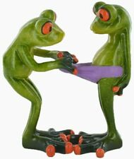 More details for comical frogs cheeky pants couple small resin figurine (80322)