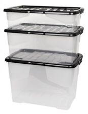 3 x Aufbewahrungsbox Box Kunststoffbox Lagerbox Regalbox mit Deckel stapelbar