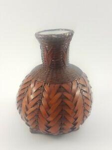 """Vintage Wicker Woven Vase Farmhouse Boho Plant holder Glass Insert Hamdmade 6"""""""