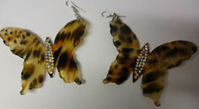 Oceania Natural Blonde Faux Tortoise Shell Carved Big Butterfly Dangle Earrings