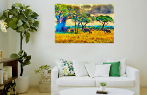 Amazing Landscap Jungle Elephants HOME WALL DECOR Framed Canvas choose your size