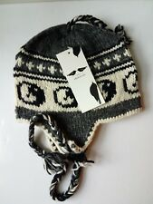 Really Nice Hand Knit Napal Heavy Wool Fleece Lined with Ear Flaps Hat