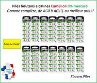 Piles/Cells Bouton Camelion Alcaline AG0/AG13 1.5V Expédition rapide et gratuite