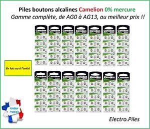 Piles/Cells Bouton Camelion Alcaline AG0/AG13 1.5V Qualité Professionnelle
