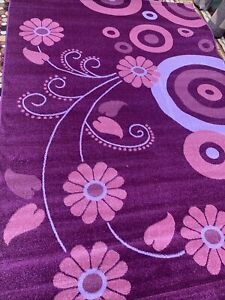 """QUALITY MODERN FOLRAL STYLE 200x300 cm (6'7""""x10')Pink / Lilac Col EASY TO CLEAN"""