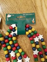 Vintage Christmas Wood Wooden Bead Star Red Blue Yellow Green Garland 12' Long