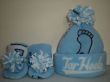 TARHEELS BABY HAT HANDMADE newborn BEANIE & BOOTIES FLEECE UNC NORTH CAROLINA #2