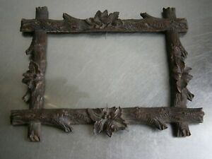Frame Antique Wood Carved St Foret Black Decoration Shaft Foliage 16X11 Window