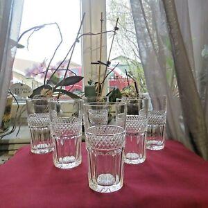 6 Glasses Orange Soda Crystal Of saint louis Model Trianon H 5 3/8in