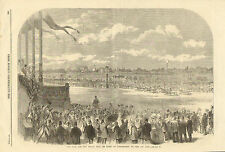 Horse Racing, Grand Prix De Paris, At Longchamps, Vintage, 1864 Antique Print.
