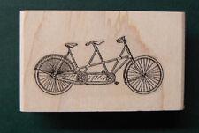 "P24 Miniature tandem bicycle rubber stamp Wm 0.4x0.9"""