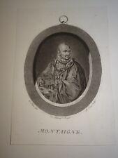 Louis LE COEUR Gravure Aquatinte XVIII PORTRAIT MONTAIGNE BORDEAUX PERIGORD 1780