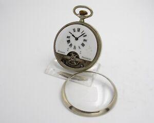 HEBDOMAS Taschenuhr, 8 Tage Werk, um 1900, Durchmesser: 50 mm, Nickelgehäuse