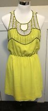 Bebe Size S Neon Yellow Beaded Dress Party Cocktails Formal EUC