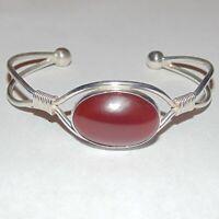 Estate sterling silver dark orange red carnelian cabochon cuff bracelet, Israel