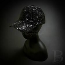 Rhinestone Baseball Hat: Costume Cosplay hat with Gems Iridescent Black