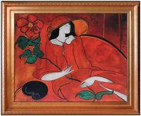 Linda Le Kinff Oil Painting On Board Signed Original Female Portrait Modern Art