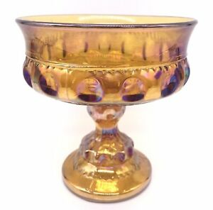 Indiana Colony Glass Iridescent Gold Carnival Kings Crown Compote Candy Dish