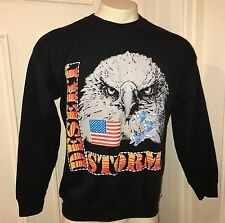 Vtg 90s Black DESERT STORM War USA Flag Trucker shirt Sweatshirt MENS Large XL