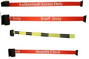 Auto Retract Security Belt Social Distancing Queue Barrier Strap Wall Fix 2.5m