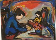 Mother at Table & Child in High Chair Oil Painting-1960s-Maxim Bugzester