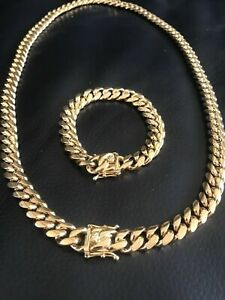 Men's Miami Cuban Link Bracelet & Chain Combo Set Gold Plated Stainless Steel