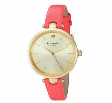 KATE SPADE Holland Neon Geranium Leather Strap Watch 34mm KSW1135  NEW!