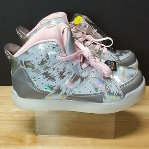 Skechers energy lights 2.0 SN20090L Size 4y Pink silver Reflective New