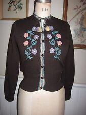 Vtg 1945-59 Glenugie Scotland Cardigan Sweater Brown Embroidered Small Fixer