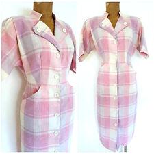 Vintage 80s Plaid Wool Dress Size Medium Pencil Straight Secretary Pastel Career