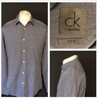 Calvin Klein Men's Shirt Grey Slim Fit Large Long Sleeve