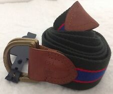 Ralph Lauren Men's Belt Green Royal Red Stripe Leather Ends D-Ring Size L NWT