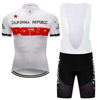 Men Team Road Cycling Jersey Bib Shorts Set California Flag Shirt Tights Kit Pad