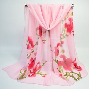Pink Magnolia Floral Print Lady Women Face Cover Wrap Silk Chiffon Scarf