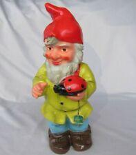 """Vintage 13"""" Heissner West Germany No 736 Garden Gnome w/Big Ladybug Has Hangtag"""