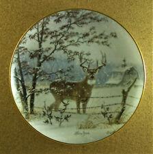 Evening Snowfall Plate Whitetail Splendor Larry Zach Buck Winter Danbury Mint